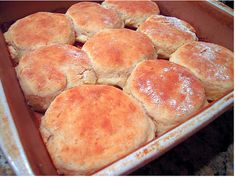 Seven Up Biscuits:  2 c Bisquick, 1/2 sour cream, 1/2 c 7-Up or Sprite, 1/4 melted butter. Melt butter in 8x8 or 9x9 pan. Mix other 3 ingredients together. Turn out on floured surface. Cut biscuits and dredge through butter in pan with buttered side up. Cook in 450 degree oven for 12-15 min --I was floored at how good, light, fluffy they were!