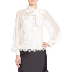 Teri Jon by Rickie Freeman Lace & Chiffon Tie-Collar Blouse ($360) ❤ liked on Polyvore featuring tops, blouses, apparel & accessories, ivory, white collared blouse, ivory blouse, scalloped blouse, collar blouse and lace blouse