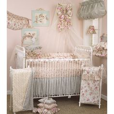 This classy Tea Party crib set features a soft floral design and elegance ruffles on the convenient accessories. The adorable valance can be stuffed for a fuller look and the cute diaper stacker resembles a feminine little dress.