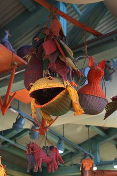 Fish And Frog Baskets And Other Playful Animals Fill the Sky Inside Island Mercantile at Disney's Animal Kingdom Theme Park  tami@goseemickey.com