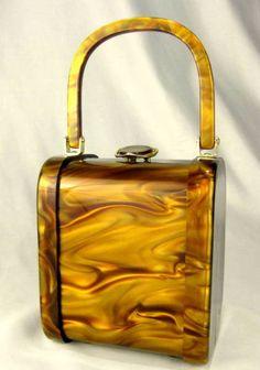 Magnificent 1950's Lucite Carmel Swirl Box Purse by Stylecraft of Miami