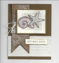 Like the woodgrain on white paper...Shells Stamp Nite M-great male card too   # Pin++ for Pinterest #
