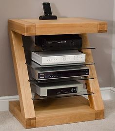 Z solid oak designer furniture hi-fi cabinet DVD console storage unit
