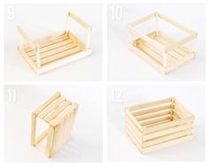 Mini Crate Decor Tutorial 3 - Paper and Landscapes Wooden Crates, Wooden Diy, Milk Crates, Crate Bookshelf, Desk Shelves, Diy Popsicle Stick Crafts, Popsicle Sticks, Crate Decor, Crate Crafts