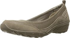 Skechers Women's Savvy-Radiant Flat, Taupe Mesh/Suede/Light Taupe Trim, 8.5 M US >>> See this great product.