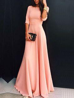 Buy Round Neck Maxi Pink Dress from abaday.com, FREE shipping Worldwide - Fashion Clothing, Latest Street Fashion At Abaday.com