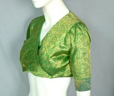 60s Pedro Rodriguez Green & Gold Silk Brocade Bolero Top - Made in Spain. $325.00, via Etsy.