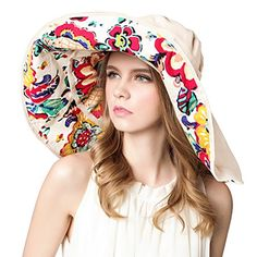 7769b627004 Women Summer Sun Hat Wide Brim Beach Bohemia Foldable Cap... http