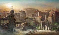 Fantasy Art Landscapes, Landscape Drawings, Fantasy Landscape, Fantasy City, Fantasy Places, Fantasy World, Ancient Troy, Ancient Romans, Ancient Greek City
