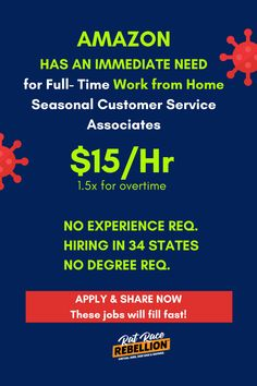 APPLY FAST! AMAZON Now Hiring Work From Home Seasonal Customer Service Associates – $15/Hr, 34 States Amazon Jobs, What Is Amazon, Work For Hire, Customer Service Experience, Instant Messenger, Internet Providers, Rat Race, Problem Solving Skills, Work From Home Jobs