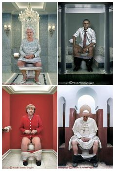 Italy-based artist Cristina Guggeri created a provocative digital photo series showing some of the world's most famous (and infamous) leaders when they're using their restrooms, we are all humans that eat, sleep, and even poop just like the rest of us :)…