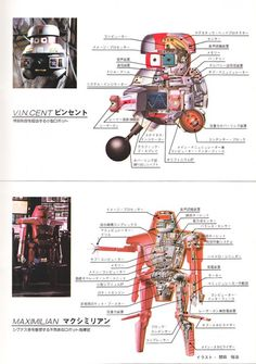 Japanese robot schematics from The Black Hole.