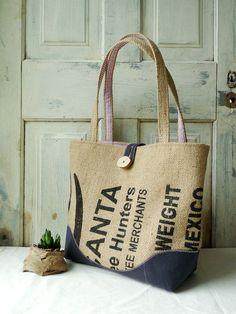 Upcycled LeAH tote. Everyday bag. Book bag. Burlap by 5thseason