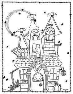 Halloween Coloring Pages Casa Halloween, Theme Halloween, Halloween Crafts For Kids, Halloween Activities, Halloween Projects, Holidays Halloween, Halloween Decorations, Halloween Witches, Happy Halloween