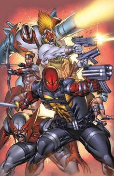 Bloodstrike, Image Comics; A top secret group working as part of Project: Born Again. Members were resurrected after death, each time with heightened strength. The team was dismantled after Cabbot was reborn as Bloodstrike.