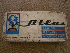 Vintage Sewing Tin Atlas Sewing Machine Storage by RustyandRedone, $10.00