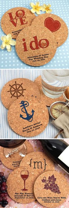 Eco-friendly, all natural, 4 inch round corkboard coasters personalized with choice of wedding design and three lines of custom print will get the conversation started at your reception cocktail hour and dinner. These all natural, reusable drink coasters make affordable wedding takeaways guest can use every day at home or work. These coasters can be ordered at http://myweddingreceptionideas.com/custom-printed-round-corkboard-coasters.asp