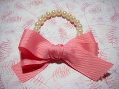 DIY pearls ribbon bracelet craft for kids to make.