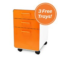 White + Orange Fully Loaded West 18th Rolling 3-Drawer File Cabinet