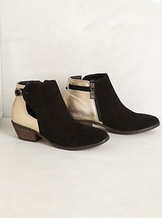 NIB Anthropologie Brevin Leather Ankle Booties Sz 6 Black  Gold By Very Volatile #Anthropologie #FashionAnkle