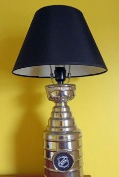 NHL Stanley Cup Lamp Boys Sports Room - boys sports bedroom - Steelers, Pirates, Penguins - See how to make a border without wallpaper and how we got a Stanley Cup to light up the room! Boys Hockey Bedroom, Boy Sports Bedroom, Hockey Room, Big Boy Bedrooms, Kids Bedroom, Bedroom Decor, Hockey Nursery, Bedroom Ideas, Hockey Decor