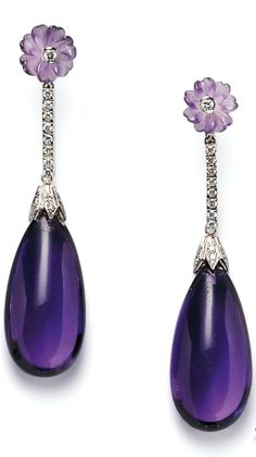 Amethyst and Diamond Earpendants, each large amethyst drop suspended from full-cut diamond bars and carved amethyst flowers, white gold mounts, lg. 2 3/4 in.