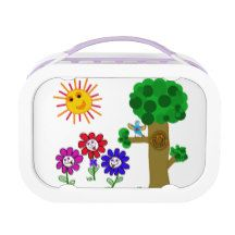 #LunchBox #ChildrenLunch Happy garden kids lunch box with smiling flowers, tree and sun. $39.95