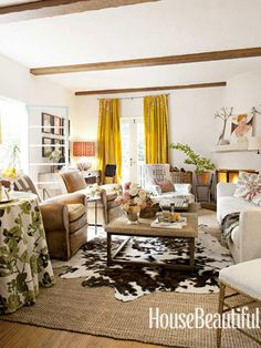 House Beautiful | Living Room with cozy, masculine details