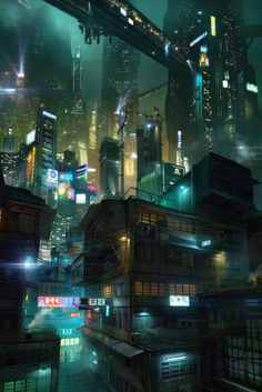 "What an amazing view: Hong Kong at night ~ Yuri Gvozdenko  //// I thought this was a seen from ""BladeRunner"""