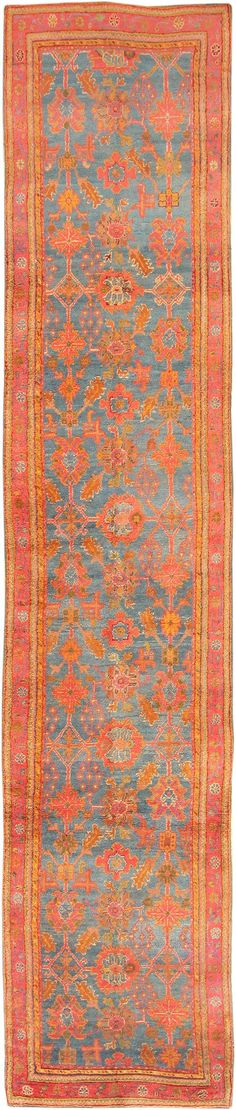 Antique Light Blue Turkish Oushak Runner 47629 Main Image - By Nazmiyal http://nazmiyalantiquerugs.com/antique-rugs/antique-oushak-rugs/antique-light-blue-turkish-oushak-runner-47629/
