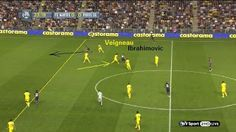 Before the first goal: Zlatan pulls the defender out of position, to trick the offside trap of Nantes