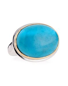 Oval+Turquoise+Ring+by+Dina+Mackney+at+Neiman+Marcus.