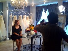 Michelle being interviewed by NBC Chicago at Belle Vie bridal Couture