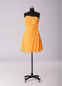 Fancy Chiffon A-line Strapless Neckline Ruched Short Bridesmaid Dress With Handmade Flowers
