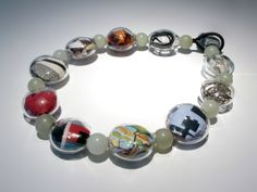 "Marianne Kohler - ""Necklace,"" blown borosilicate glass, mixed media, jade"