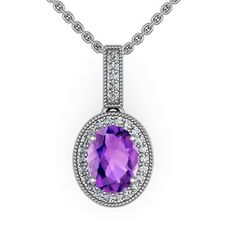 Oval Amethyst and Round Diamond Border Pendant in 14k White Gold (7X5 mm): Angara.com