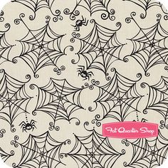Too Cute to Spook Gray Spiderwebs Yardage SKU# C3392-GRAY - Fat Quarter Shop - Quilt for Henry's first Halloween.