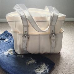 Large White Handbag Large White Handbag - Rarely Used - Has a little bit of a makeup stain on the inside, but other than that--great condition! Bags
