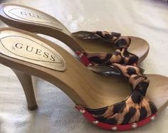 Sexy Guess Leopard Slip on Open Toe Wood Heels with Red Gold Cute Size 5 1 2 | eBay