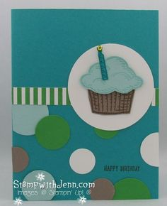Sprinkles of Life Stamp set from the 2015-2016 Stampin 'Up! Catalogue. I love the co-ordinating punch that punches out the cupcake top. Super fast and easy card to make.