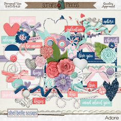 Whether it's a person, place or thing you adore, you'll find lots of ways to use the new kit Adore by Shel Belle Scraps
