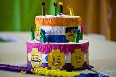 Lego birthday party - Lego birthday cake pinata with Lego heads
