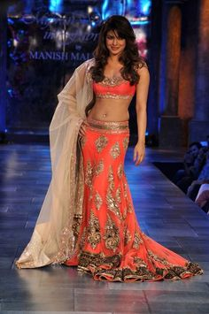 This Designer Lehenga Choli is in gorgette fabric having zardozi embroidery on it. Lehenga skirt is with a trail. Dupatta of this Designer Lehenga Choli is in Champagne color with embroidered borders Indian Wedding Fashion, Indian Bridal, Priyanka Chopra, Shraddha Kapoor, Indian Attire, Indian Wear, Indian Style, Indian Ethnic, Indian Dresses