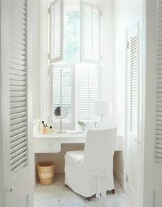 Small area perfect for an all white vanity area with shutters and all White Shutters, Interior Shutters, Window Shutters, Louvered Shutters, Window Blinds, Bay Window, All White Room, White Rooms, White Deck
