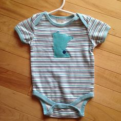 Minnesota Baby Onesie ~ Size 6-9 Months ~ Stripes with MN Appliqué with snap head on MSP ~ One-Of-A-Kind ~ Upcycled~ Great Gift for MN baby! by ArtThatCooks on Etsy