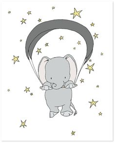 Elephant Nursery Art Print -- Elephant Starry Night