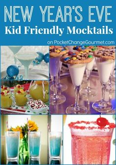 New Year's Eve Kid Friendly Mocktails on http://PocketChangeGourmet.com