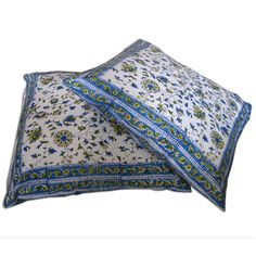 Pillow Cover Cases Cotton Floral Block Printed Design Set of 2 from India