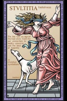"""'The Tarot of the Sevenfold Mystery' by Robert Michael Place. (copyright). This card is """"STVLTITA  (Foolishness)"""""""