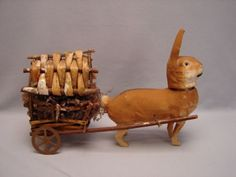 Vintage-German-Rabbit-Easter-Bunny-Candy-Container-Pulling-a-Wagon-w-Easter-Egg